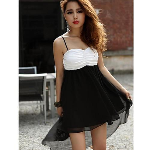 Женская сексуальная Контрастность Цвет шифон бандо Асимметричный платье Lightinthebox 725.000
