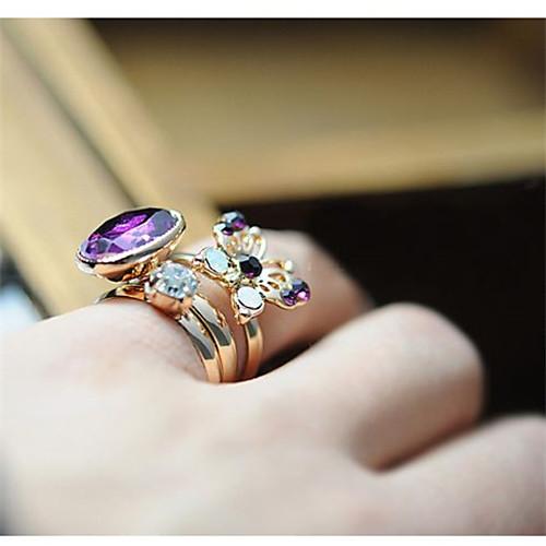 babalusha женщин старинных таинственный камень из трех частей фиолетовая бабочка diamonade кольцо Lightinthebox 42.000