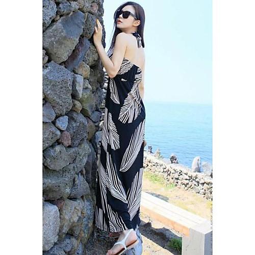 Женщин Повода Черный Листья макси платье Lightinthebox 781.000
