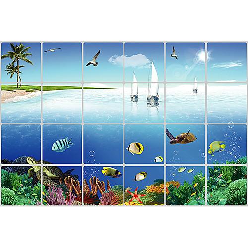 Пейзаж Sea Life Алюминиевая фольга Водонепроницаемый Высокая термостойкость настенные наклейки Lightinthebox 429.000