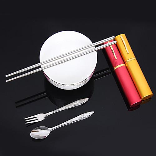 Портативный нержавеющей стали Палочки для еды Посуда случайный цвет, набор из 3, W2cm х L14cm х H2cm Lightinthebox 171.000