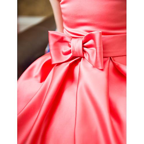 Платье детское бальное из атласа чайной длины с бантиком на поясе Lightinthebox 3007.000