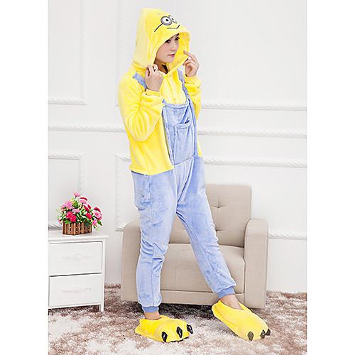 Мужская Миньоны Желтый фланели Kigurumi пижамы мультфильм пижамы животных Хеллоуин костюм Lightinthebox 1288.000