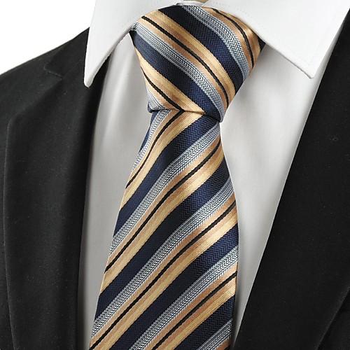 Поцелуй рулевой Новый Полосатый Золотой черного жаккарда деловых Мужская Галстук Сувениры Lightinthebox 687.000