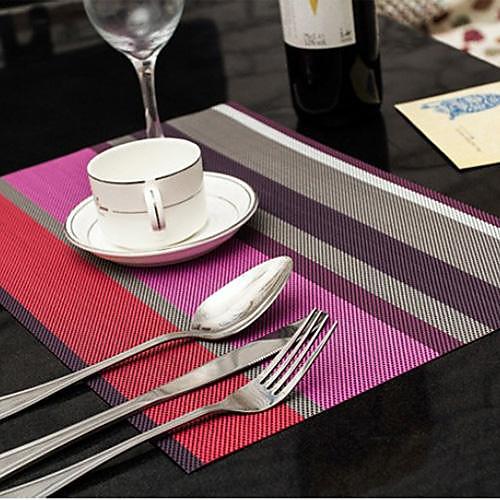 Ассорти цветов Полосатый Placemat на ужин, L45cm х Ш 30 см, жаропрочных ПВХ Lightinthebox 171.000