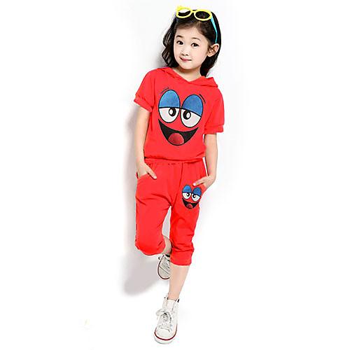 Девушки Улыбка печати Мода коротким рукавом Одежда наборы Lightinthebox 816.000