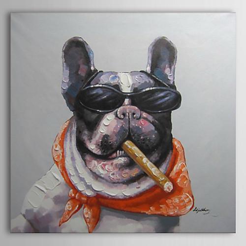 Ручная роспись маслом животных Bull Dog курить сигары Lightinthebox 2577.000