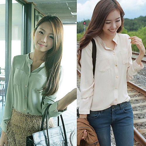 Рубашка женская из шифона с нагрудными карманами и воротником стойкой Lightinthebox 586.000