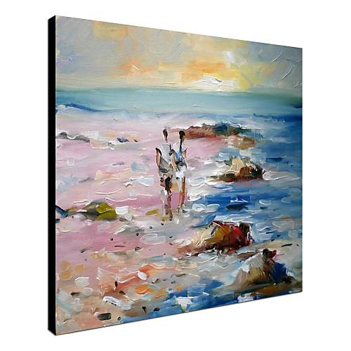 Ручной росписью маслом Пейзаж Любители Рабочие на пляже с растянутыми Frame Lightinthebox 3437.000