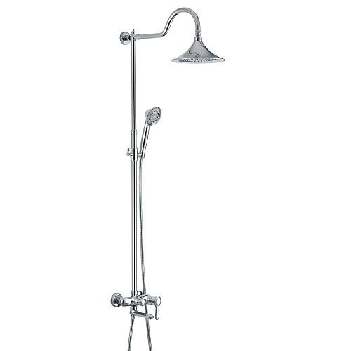 Смеситель для душа / Смеситель для ванны - Античный Хром На стену Керамический клапан Bath Shower Mixer Taps / Латунь / Одной ручкой Два отверстия