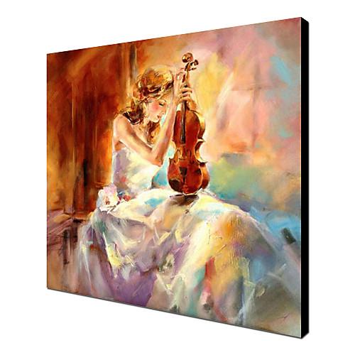 Ручной росписью маслом Люди Девушка играет на скрипке с растянутыми кадров Lightinthebox 4210.000