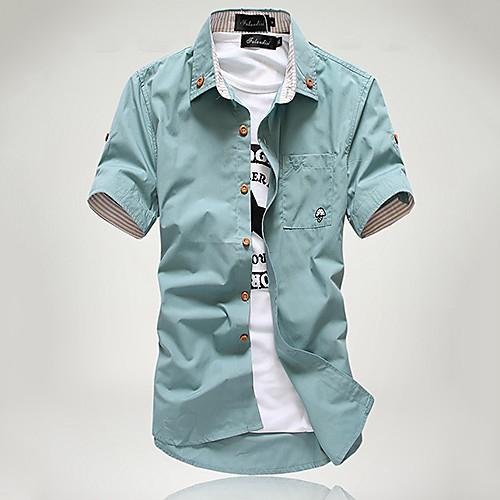 Мужской Однотонный Рубашка На каждый день,Смесь хлопка,С короткими рукавами,Черный / Синий / Зеленый / Красный / Белый / Бежевый от Lightinthebox.com INT
