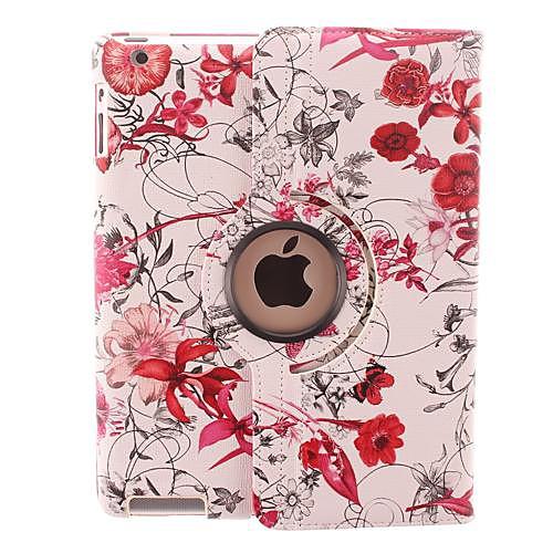Яркий цвета цветок винограда Дизайн 360 градусов вращающийся PU кожаный чехол и подставка для IPad 2/3/4