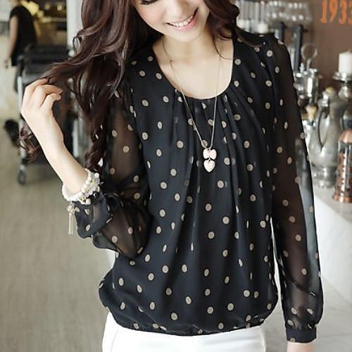 Блузка женская шифоновая в горошек, повседневный стиль