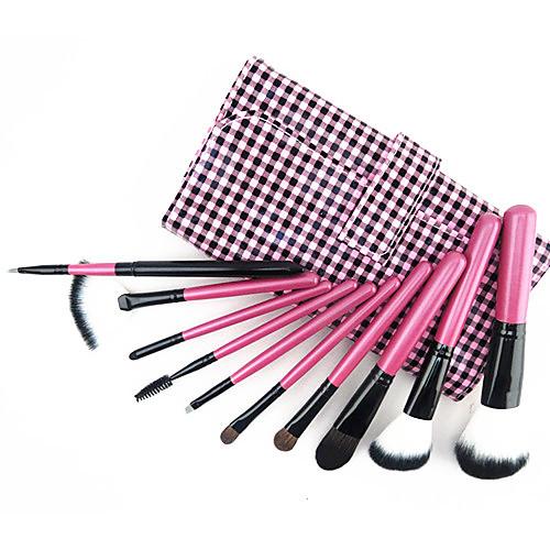 Набор из 10 кистей из козьего волоса с розовой ручкой для профессионального макияжа в комплекте с клетчатой сумочкой Lightinthebox 407.000