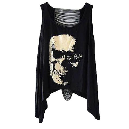 Майка-безрукавка женская в стиле панк с принтом черепа и разрезами на спине Lightinthebox 418.000