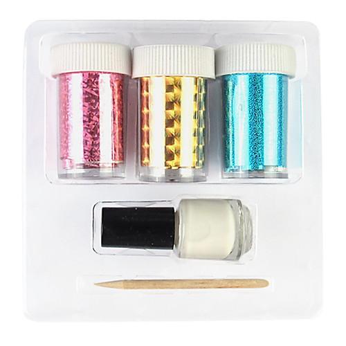 3шт Лазерная фольга украшения ногтя Звездное Наклейки с Клей-карандаш (Случайный цвет наклейки) Lightinthebox 192.000