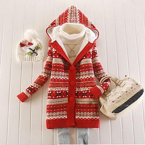 Новый 2014 Женская Снежинка Печатные руно утолщение свитер с капюшоном от Lightinthebox INT
