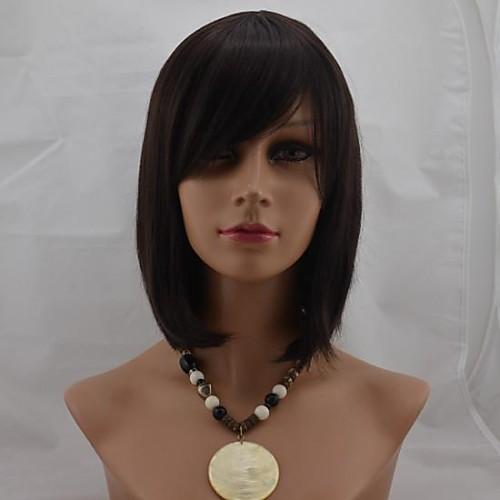 Парики из искусственных волос Прямой Коричневый С чёлкой 2/33 2/30H Искусственные волосы 12 дюймовый Жен. С Bangs Коричневый Парик Короткие Без шапочки-основы