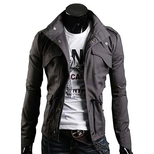 U & F Мужчины Народной Англия Стенд воротник застежки Теплый Fit Jacket Серый Lightinthebox 1288.000