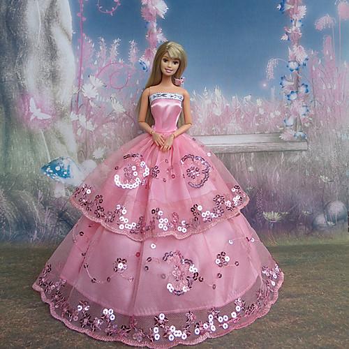 Платье бальное розовое для куклы Барби Lightinthebox 343.000