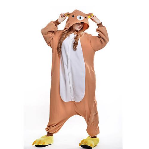 Кигуруми Пижамы Медведи Костюм Комбинезон-пижама Пижамы Оранжевый Флис Косплей Для Взрослые Нижнее и ночное белье животных Рождество