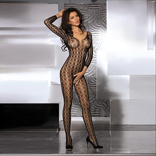 Для женщин Ультра-секси Ночное белье Однотонный Нейлон Черный Женский