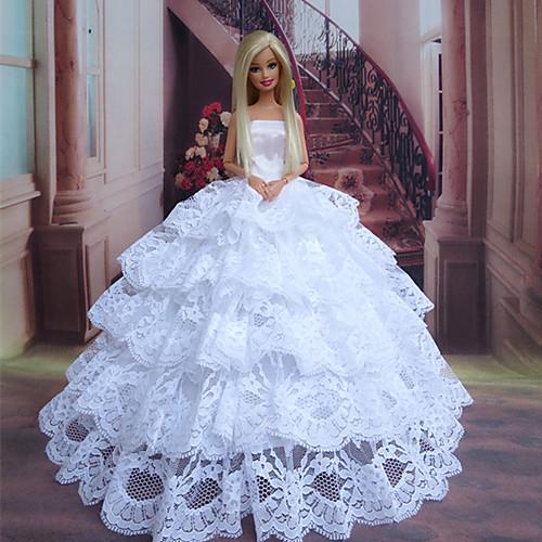 куклы Барби застенчивая невеста чистый белый шнурок слоистых платье принцессы Lightinthebox 644.000