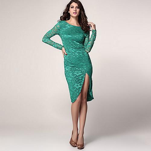 Сексуальная Midi платье женщин в кружева с клобук Вернуться и Сплит Lightinthebox 1005.000