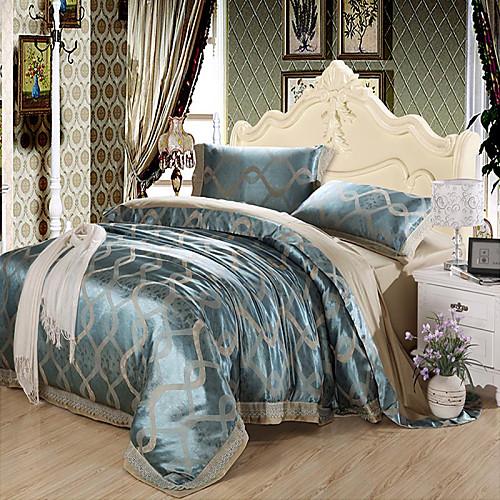 Комплект постельного белья сине-серой расцветки из 100% хлопка с жаккардовым переплетением (набор из 4 предметов)