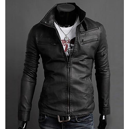 INMUR Черная молния Multi-кнопки закрытия Стенд воротник сплошной Цвет куртки Lightinthebox 1374.000