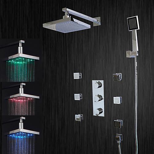 Смеситель для душа - Современный Хром Душевая система Керамический клапан Bath Shower Mixer Taps / LED / Дождевая лейка / Поток воды / Латунь / Три ручки пять отверстий