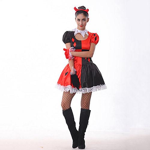 Забавный клоун Красное и Черное Хэллоуин Необычные платья женщин Костюм Lightinthebox 1030.000