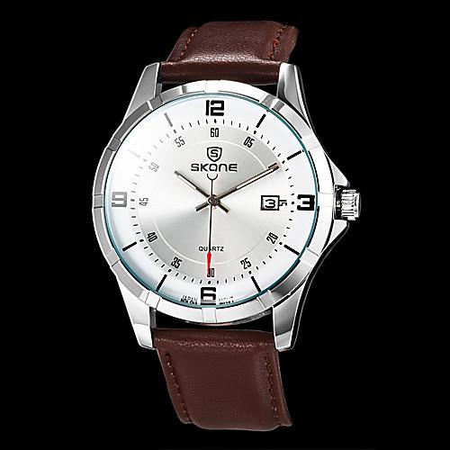 мужской деловой стиль календарь коричневый кожаный ремешок кварцевые наручные часы (разных цветов)