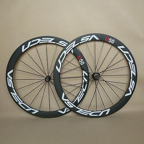 700CC Колесные пары Велоспорт 23 mm Шоссейный велосипед Полный углерод Однотрубка F:20 R:24 Спицы 50 mm, Белый