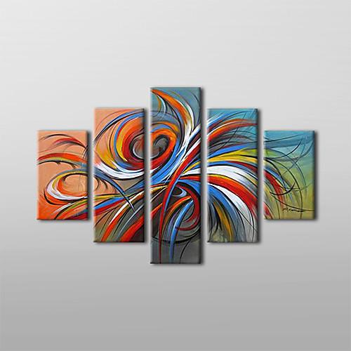 картины маслом набор 5 современных Абстрактные цветные круги ручной росписью холст готовы повесить Lightinthebox 5370.000