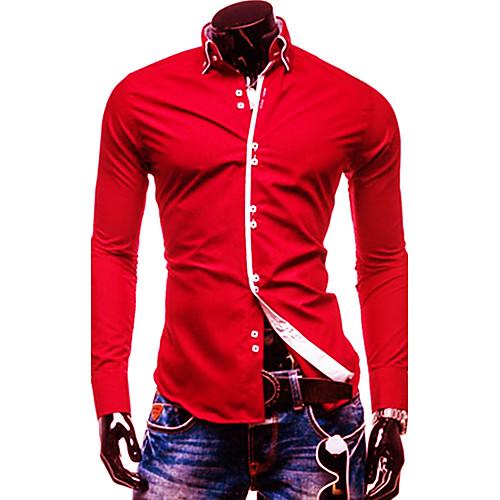 Для мужчин Официальные На каждый день Офис Рубашка Однотонный Контрастных цветов Длинный рукав,Хлопок от Lightinthebox.com INT
