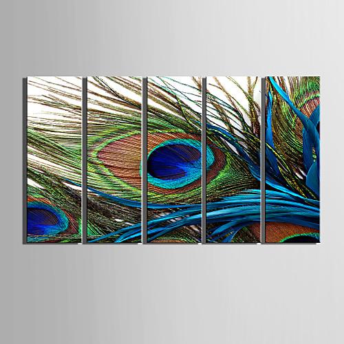 холст набор 5 натюрморт перо павлина натянутым холстом печати готов повесить Lightinthebox 3866.000