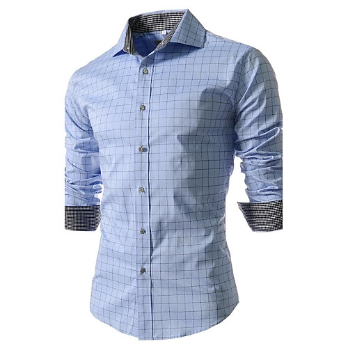 Men's Work Business / Street chic Plus Size Cotton Slim Shirt - Plaid Print Spread Collar White XXL / Long Sleeve / Spring / Fall