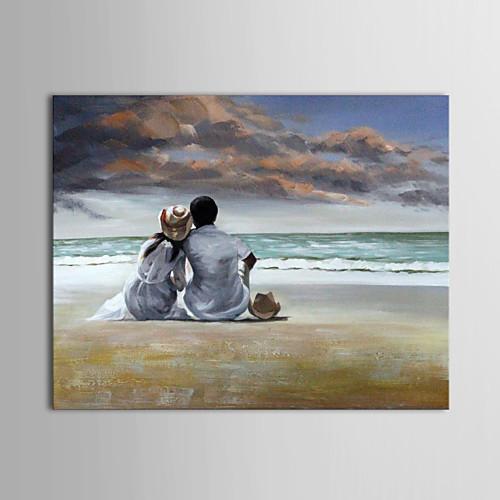 Ручная роспись маслом Люди Влюбленные на Beachs с растянутыми Frame Lightinthebox 3136.000