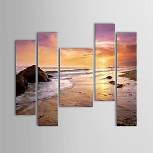 картины маслом набор 5 современных пейзаж песчаных берег ручной росписью холст готовы повесить Lightinthebox 7304.000