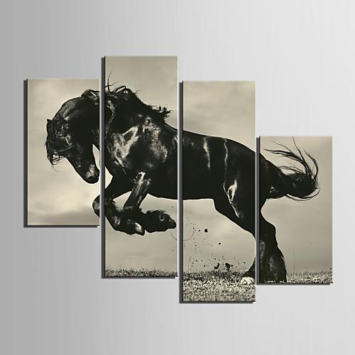 Натянутым холстом искусства животными прыжки лошади Набор из 4 Lightinthebox 3995.000