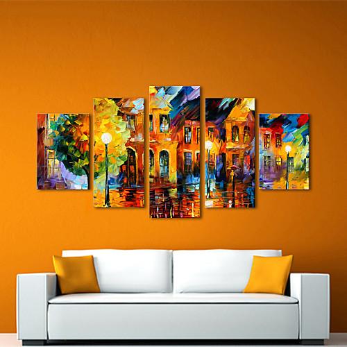 картины маслом набор 5 современного абстрактного пейзажа в дождь ручной росписью холст готовы повесить Lightinthebox 6445.000