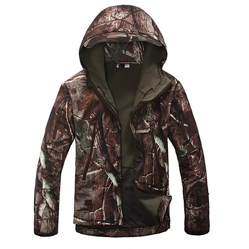 Камуфляжная куртка для охоты Муж. Сохраняет тепло С защитой от ветра Дожденепроницаемый Водонепроницаемая молния Защита от пыли Дышащий