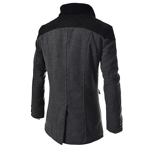 мужская воротник стойка два ряда кнопку камвольной пальто от Lightinthebox INT
