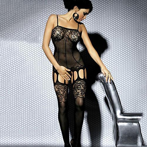 Для женщин Кружевное белье Ночное белье Однотонный Кружева / Спандекс Черный Женский
