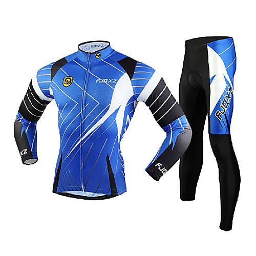 FJQXZ Муж. Длинный рукав Велокофты и лосины - Синий Велоспорт Наборы одежды, С защитой от ветра, Дышащий, 3D-панель, Сохраняет тепло, Быстровысыхающий Сетка Полосы / волосы