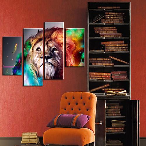Натянутым холстом печати искусства животными Lion Набор из 4 Lightinthebox 3866.000