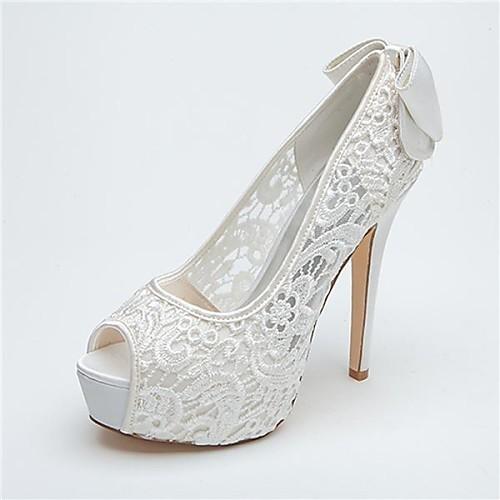 женская обувь платформы пальца ноги щели шпилька кружева насосы свадебные туфли больше цветов (lightinthebox