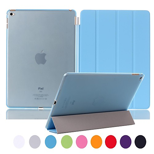 Natusun™ Slim Smart Four Fold The Soft PU Leather Cover Hard Translucent Plastic Shell for iPad Air 2(Assorted Colors)